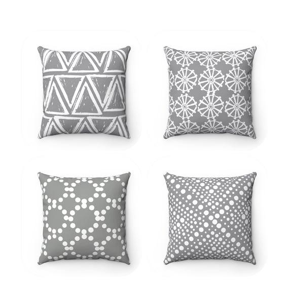 OUTDOOR Throw Pillow . Grey Outdoor Pillow . Gray pillow . Gray Patio Cushion . Gray Throw Pillow 16 18 20 inch . Grey Lumbar Pillow