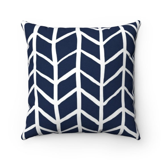 OUTDOOR Throw Pillow . Navy Blue Outdoor Pillow . Navy Herringbone Patio Cushion