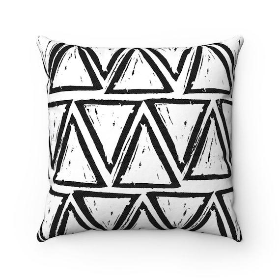 OUTDOOR Throw Pillow . Black and White Outdoor Pillow . White Patio Cushion . Triangle
