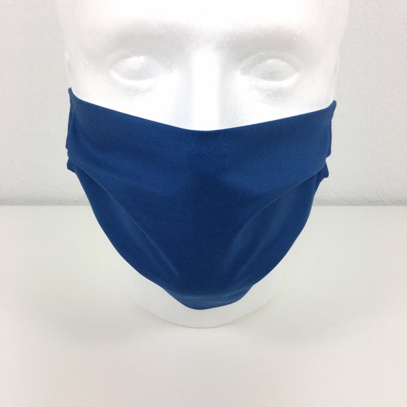 Solid Blue Face Mask - Adult Adjustable Fabric Face Mask with Pocket for Filter