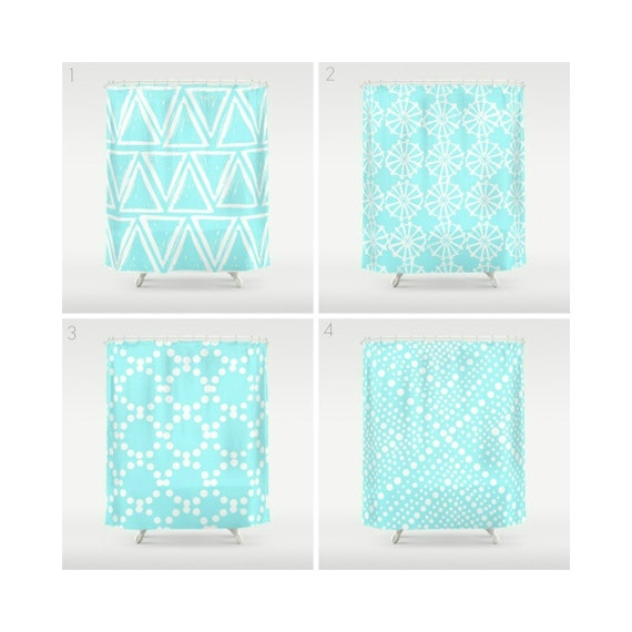 Bahama Blue Shower Curtain - Geometric Shower Curtain - Modern Shower Curtain - Shower Curtain - Triangle Shower Curtain - Aqua and White