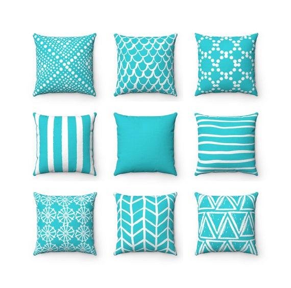 Aqua Throw Pillow . Aqua Pillow . Mix and Match