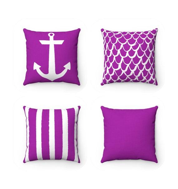 OUTDOOR Throw Pillow . Purple Outdoor Pillow . Coastal Patio Cushion . Anchor Pillow . Stripe Pillow . 16 18 20 inch . Violet Mermaid Pillow