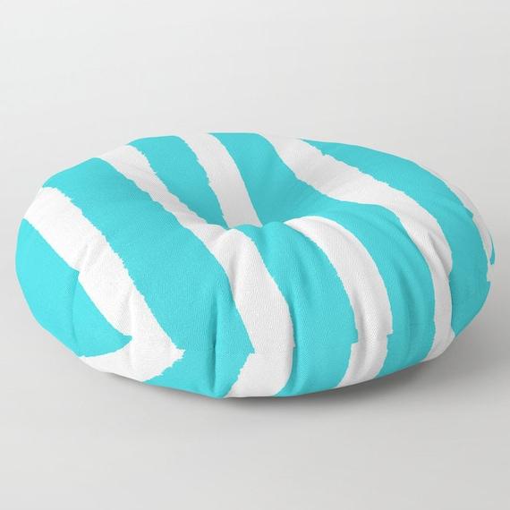 Aquamarine and White Striped floor cushion . Round cushion . Aqua floor pillow . Cyan Striped Floor pillow . 26 inch pillow . 30 inch