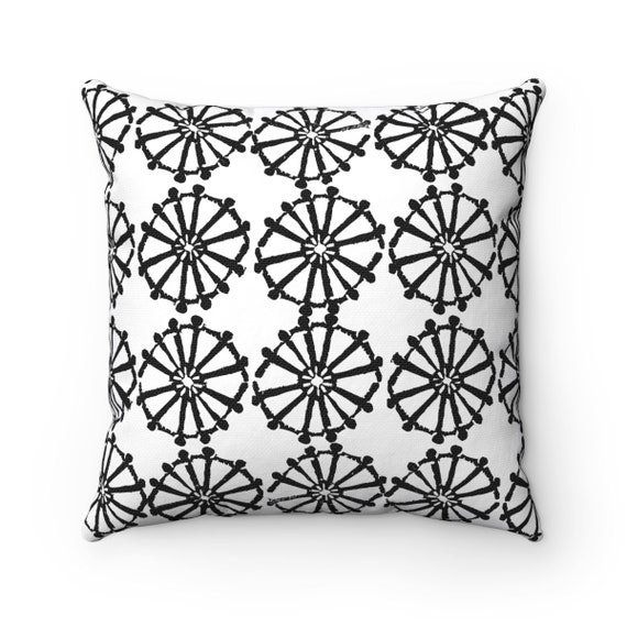 OUTDOOR Throw Pillow . White Outdoor Pillow . Black and White patio cushion . Modern Geometric Pillow Wheel . 16 18 20 inch . Lumbar Pillow