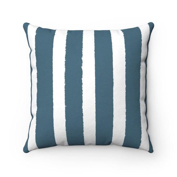 OUTDOOR Throw Pillow . Teal Outdoor Pillow . Teal Stripe Patio Cushion