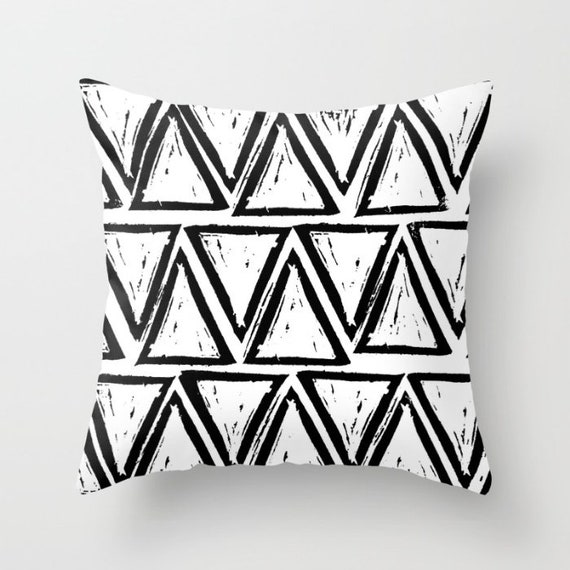 OUTDOOR Throw Pillow . Black and White Outdoor Pillow . White patio cushion . Modern Geometric Pillow Triangle . 16 18 20 inch . Rectangle