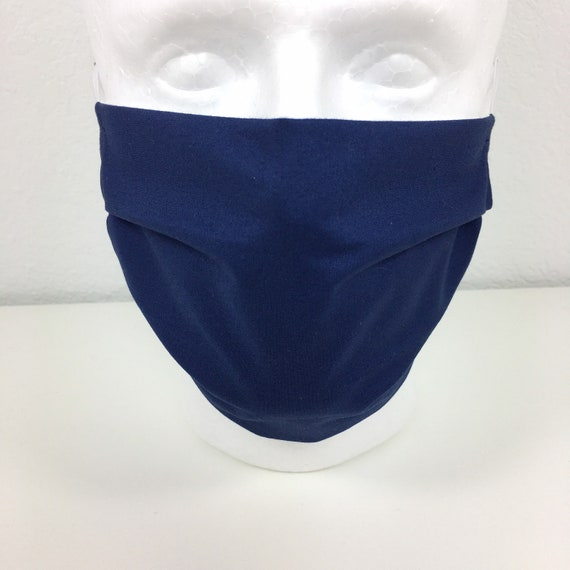 Solid Navy Blue Face Mask - Adult Adjustable Face Mask with Pocket for Filter