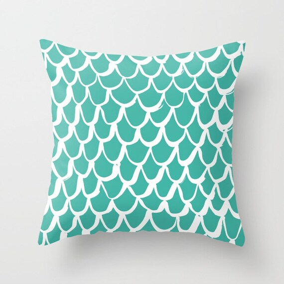 OUTDOOR Throw Pillow . Mermaid Outdoor Pillow . Turquoise patio cushion . 16 18 20 inch . Jade Mermaid Outside Pillow . Green Lumbar Pillow