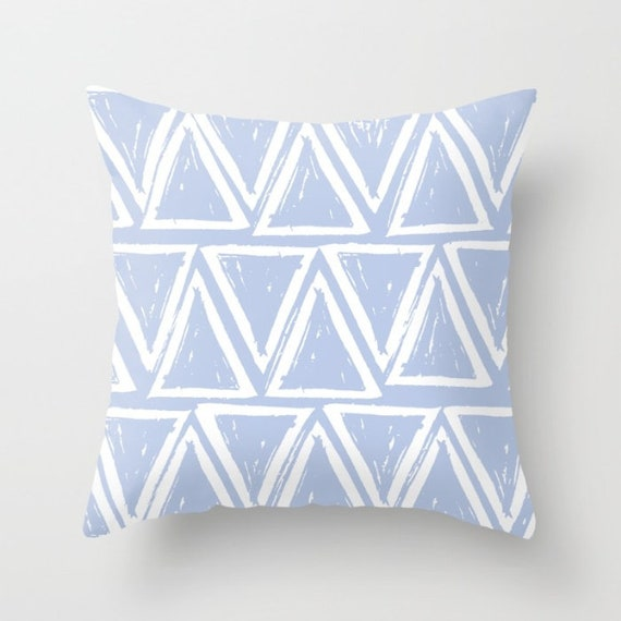 OUTDOOR Throw Pillow . Periwinkle blue Outdoor Pillow . Blue patio cushion . Modern Geometric Pillow Triangle . 16 18 20 inch Lumbar Pillow