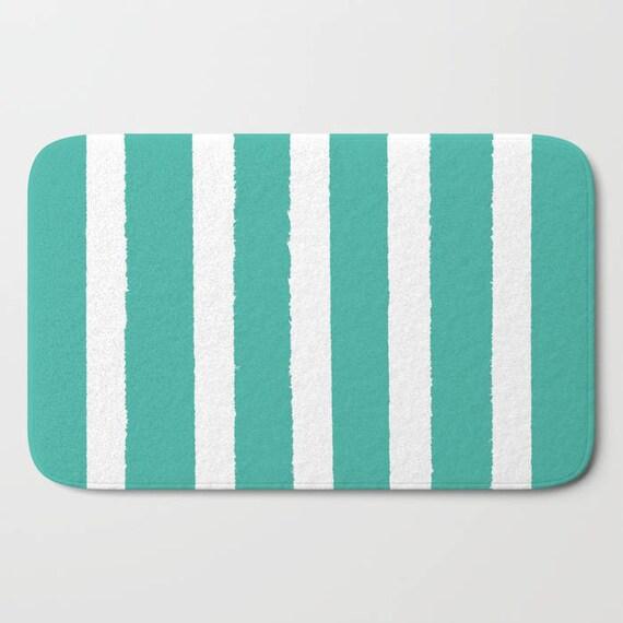Bath Mat . Turquoise Bath Mat . Striped Bath Mat . Bath Rug . Shower Mat . White Rug . Jade Striped Rug . Turquoise and White Striped Rug