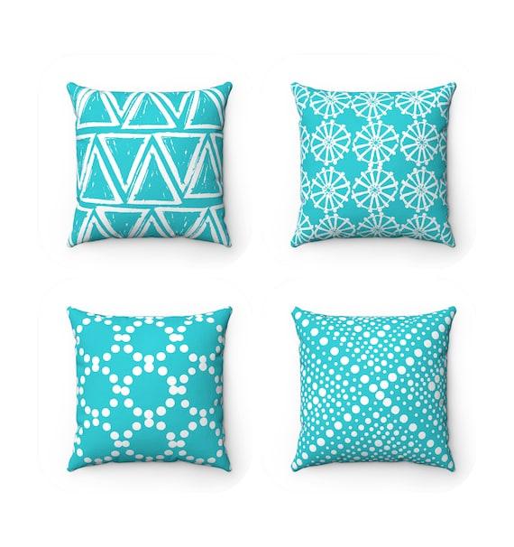 OUTDOOR Throw Pillow . Aqua Outdoor Pillow . Aqua pillow . Aquamarine Patio Cushion . Aqua Throw Pillow 16 18 20 inch . Coral Lumbar Pillow