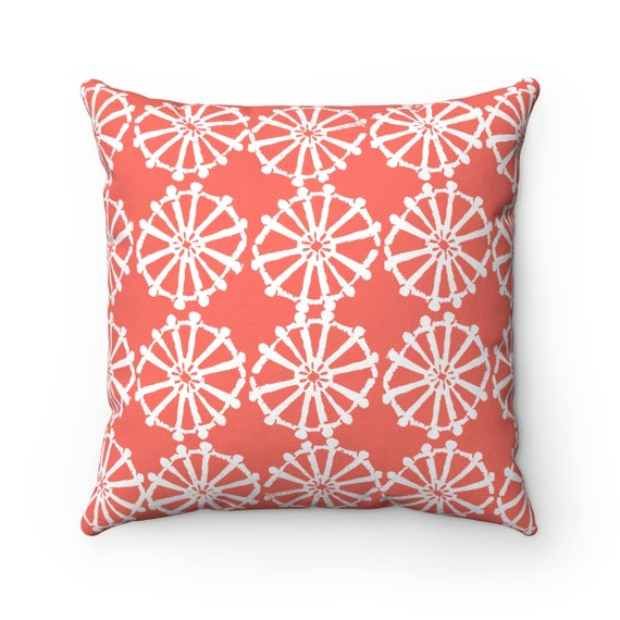 OUTDOOR Throw Pillow . Coral Outdoor Pillow . Coral patio cushion . Modern Geometric Pillow . Coral Wheel . 16 18 20 inch . Lumbar Pillow