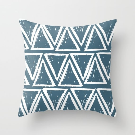 OUTDOOR Throw Pillow . Teal Outdoor Pillow . Teal patio cushion . Modern Geometric Pillow Triangle . 16 18 20 inch . Teal Lumbar Pillow