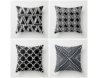 Black and White Throw Pillow . Modern Throw Pillow . Geometric Pillow . Black Cushion . Triangle Dot . Cotton Throw Pillow 14 16 18 20 inch