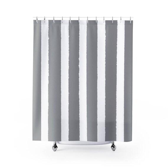 Grey Shower Curtain . Gray Striped Shower Curtain