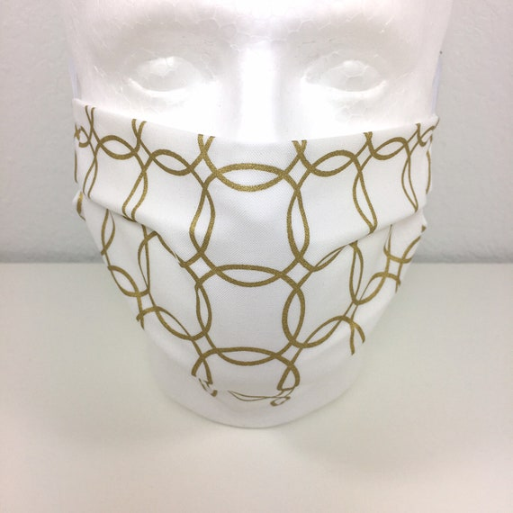 Gold and White Child over 10 / Tween  / Teen / Adult Face Mask - Adjustable Fabric Face Mask with Pocket for Filter