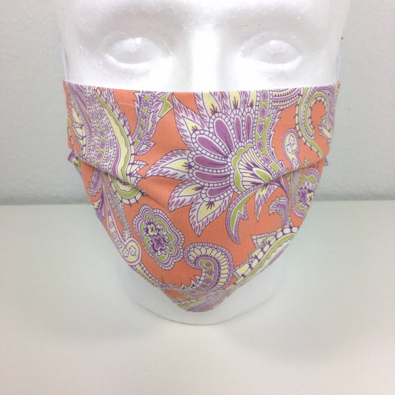 Peach Paisley Adult Face Mask - Adjustable Fabric Face Mask with Pocket for Filter