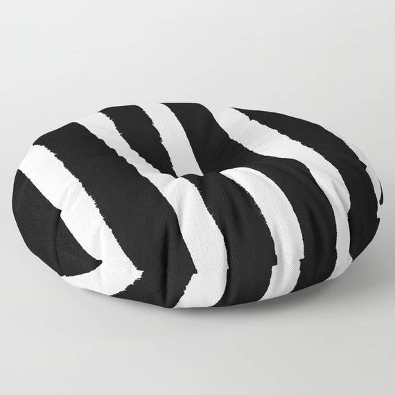 Black and White Striped floor cushion . Black and White floor pillow . Round cushion . Round pillow . 26 inch pillow . 30 inch pillow
