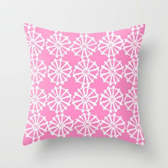 OUTDOOR Throw Pillow . Bubblegum Pink Outdoor Pillow . Pink patio cushion . Modern Geometric Pillow Wheel  16 18 20 inch . Lumbar Pillow