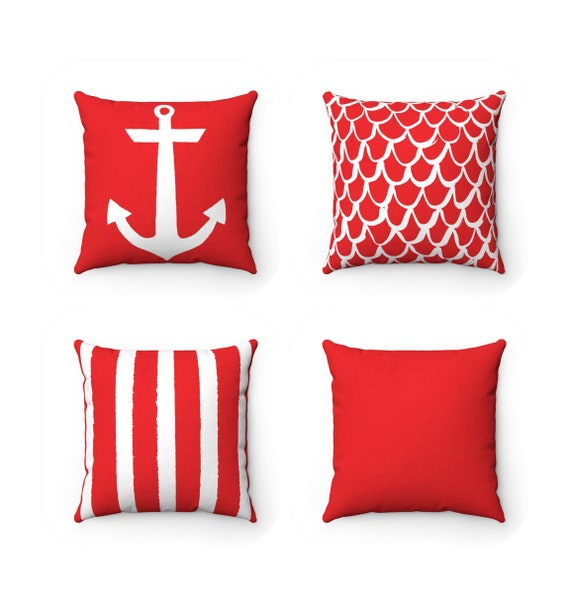 OUTDOOR Throw Pillow . Red Outdoor Pillow . Coastal Patio Cushion . Anchor Pillow . Stripe Pillow . 16 18 20 inch . Ruby Red Mermaid Pillow