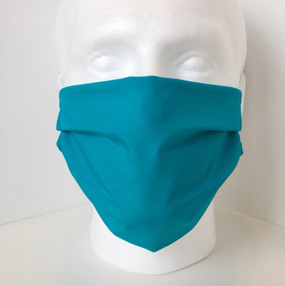 Solid Turquoise Adult Face Mask - Tween / Teen Face Mask - Adjustable Fabric Face Mask with Filter Pocket