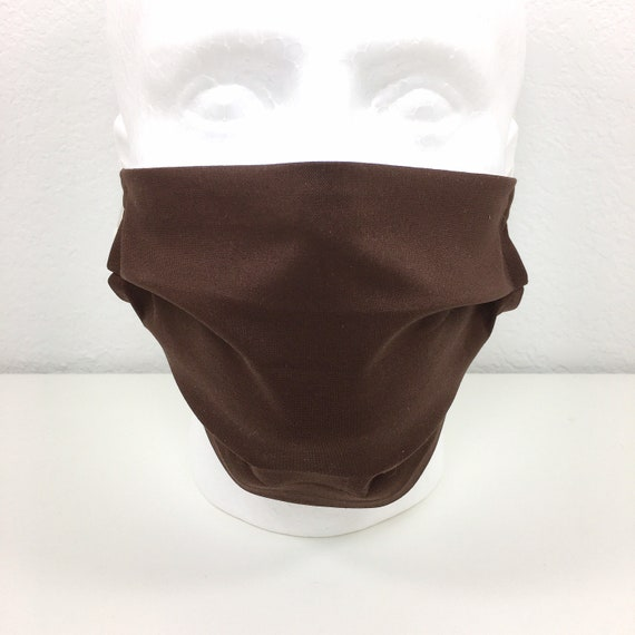 XL Adult - Adjustable Fabric Face Mask with Pocket for Filter -  Extra Large Mask - Solid Brown Face Mask