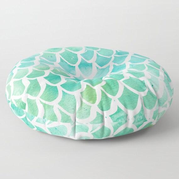 Mermaid floor cushion . Aqua cushion - Mermaid Pillow . Round pillow . Floor pillow . Watercolor pillow . 26 inch pillow . 30 inch ottoman