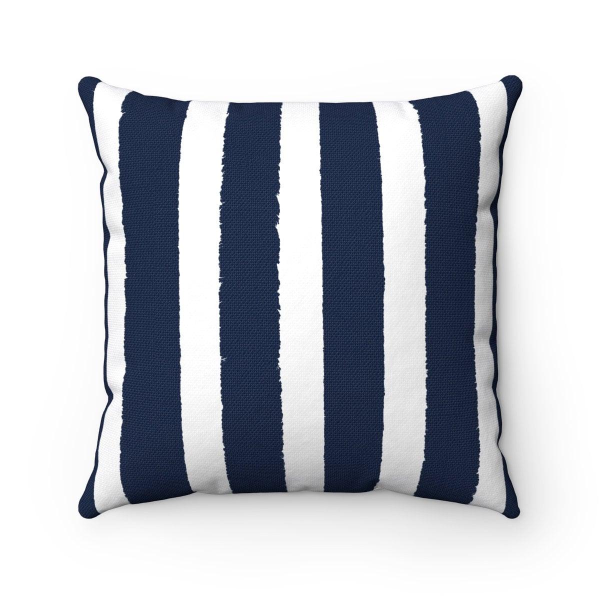 Navy Blue Outdoor Pillow . Navy Stripe Patio Cushion . Modern Navy Pillow .  16 18 20 Inch . Blue Lumbar Pillow