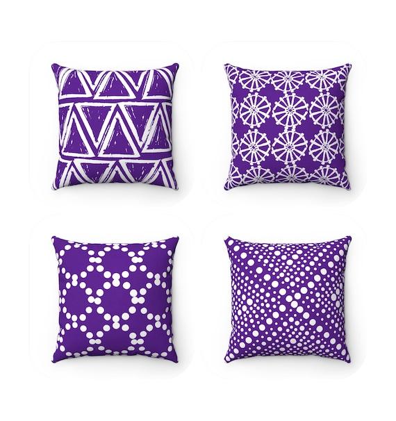 Violet Throw Pillow . Modern Purple Pillow . Violet pillow . Geometric triangle dot . Violet Throw Pillow . Purple Lumbar  14 16 18 20 26 in