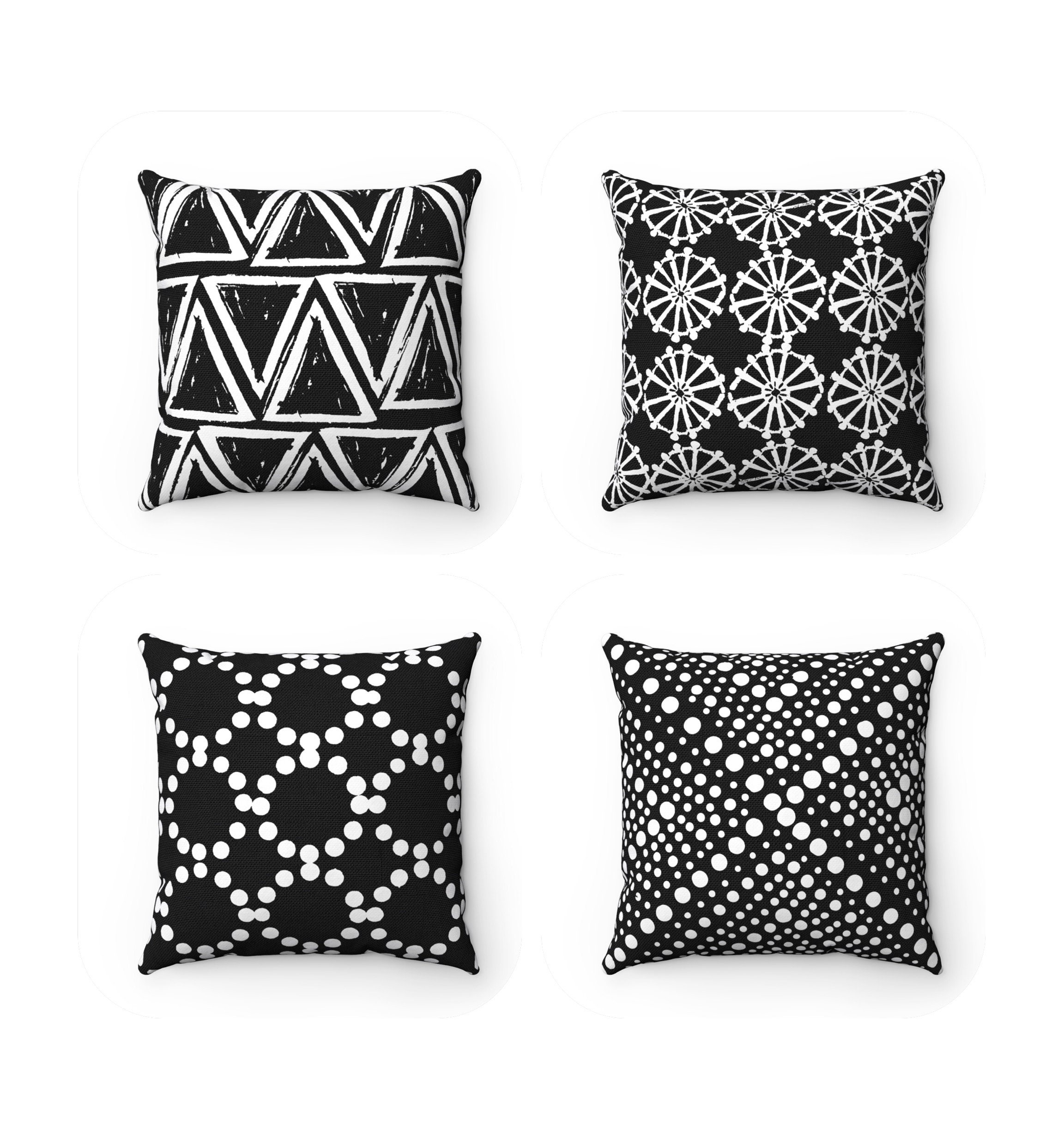 Outdoor Throw Pillow Black And White Outdoor Pillow Black And