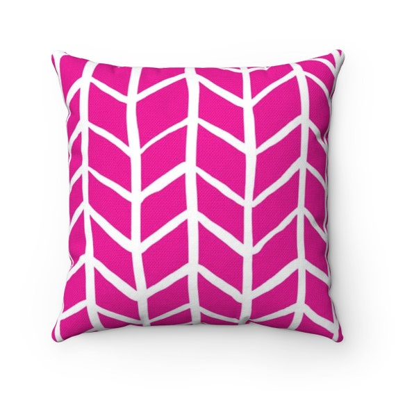 OUTDOOR Throw Pillow . Magenta Outdoor Pillow . Pink Herringbone Patio Cushion
