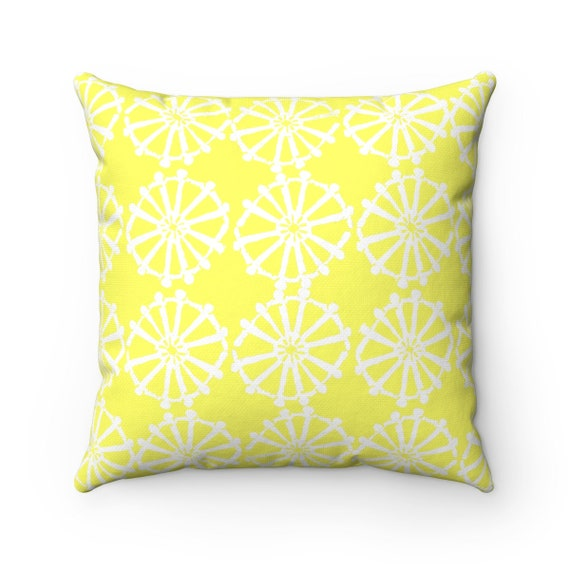 OUTDOOR Throw Pillow . Lemon Yellow Outdoor Pillow . Yellow patio cushion . Modern Geometric Pillow Wheel  16 18 20 inch . Lumbar Pillow