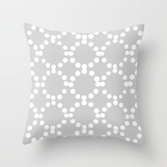 OUTDOOR Throw Pillow . Silver Grey Outdoor Pillow . Gray and White patio cushion . Modern Geometric Pillow Ring Dot . 16 18 20 inch . Lumbar