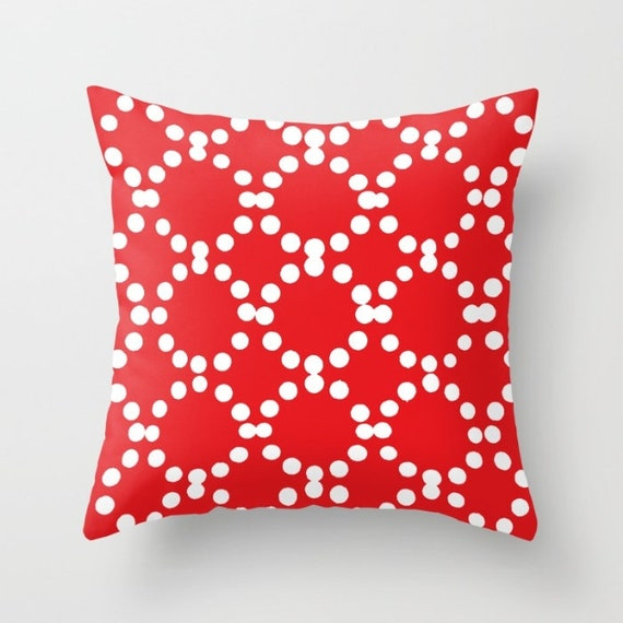 OUTDOOR Throw Pillow . Red Outdoor Pillow . Red and White patio cushion . Modern Geometric Pillow Ring Dot . 16 18 20 inch . Red Lumbar