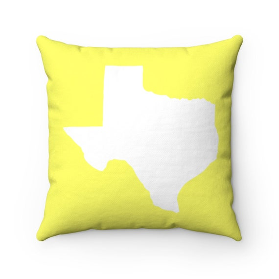 Yellow Texas Throw Pillow . Lemon Yellow Pillow . Texas Cushion . Texas Pillow . Texas State Lumbar Pillow . Texas Gift 14 16 18 20 26 inch