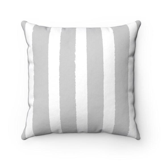 OUTDOOR Throw Pillow . Silver Gray Outdoor Pillow . Gray Stripe Patio Cushion