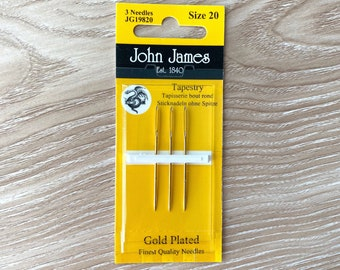 Tapestry Needles Size 20 - John James Gold Plated - Set of 3