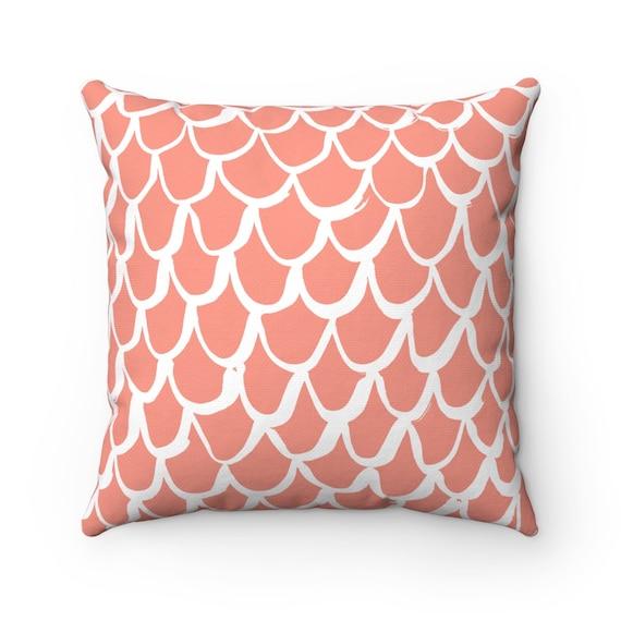 Peach Mermaid Throw Pillow . Salmon and White Pillow . Apricot Cushion . Mermaid Pillow . Peach Pillow . Mermaid Cushion 14 16 18 20 26 inch
