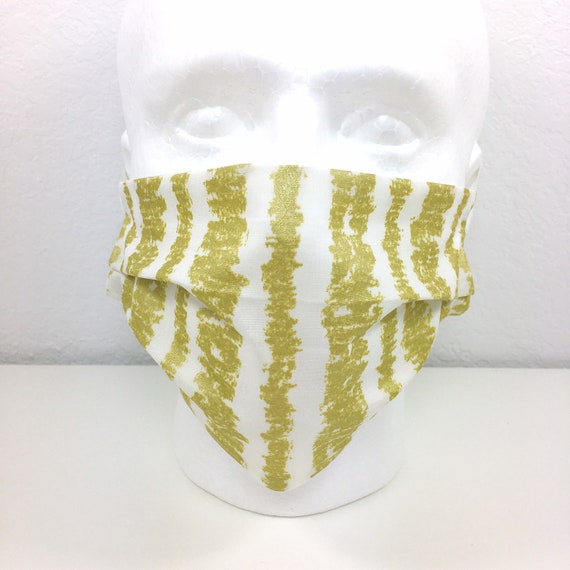 Gold Stripe Face Mask - Adult / Tween / Teen  Adjustable Fabric Face Mask with Pocket for Filter