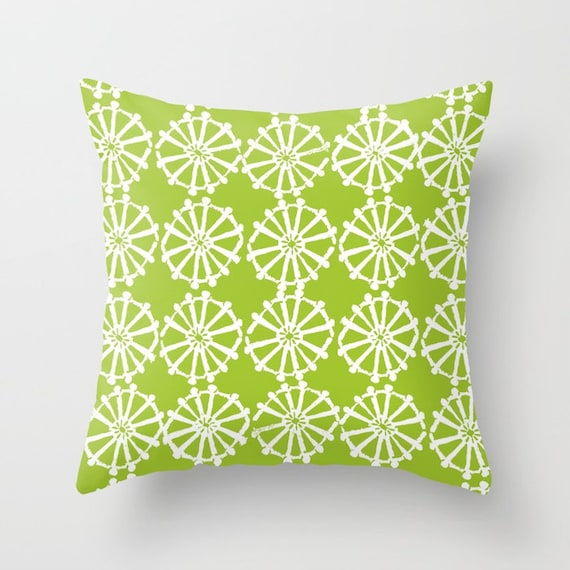 OUTDOOR Throw Pillow . Lime Green Outdoor Pillow . Lime patio cushion . Modern Geometric Pillow . Lime Wheel . 16 18 20 inch . Lumbar Pillow