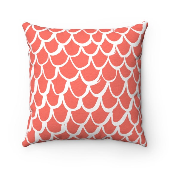 Coral Mermaid Throw Pillow . Salmon Pillow . Coral Cushion . Mermaid Pillow . Coral Cushion 14 16 18 20 26 inch . Coral Lumbar pillow