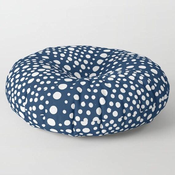 Navy blue floor cushion . Round cushion . Navy Pillow . Round pillow . Geometric Floor pillow . 26 inch pillow . 30 inch pillow