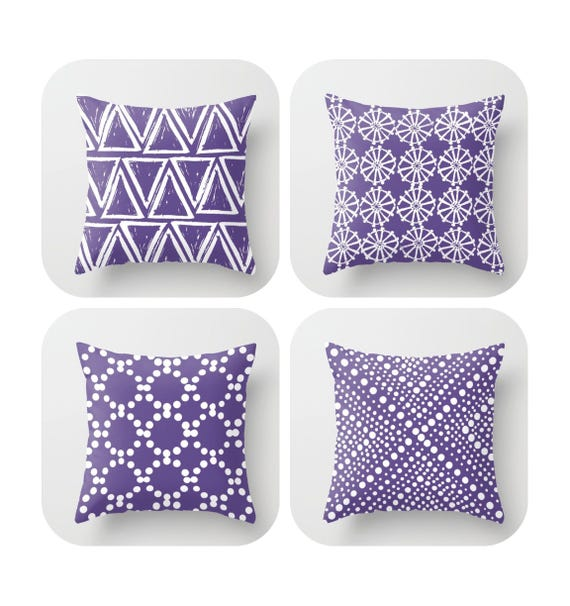 Ultra Violet Throw Pillow . Modern Purple Pillow . Ultra violet pillow . Geometric triangle dot . Pantone Cotton Throw Pillow 14 16 18 20 in