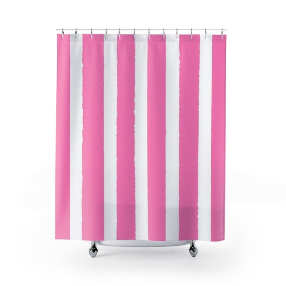Pink Shower Curtain . Pink Striped Shower Curtain