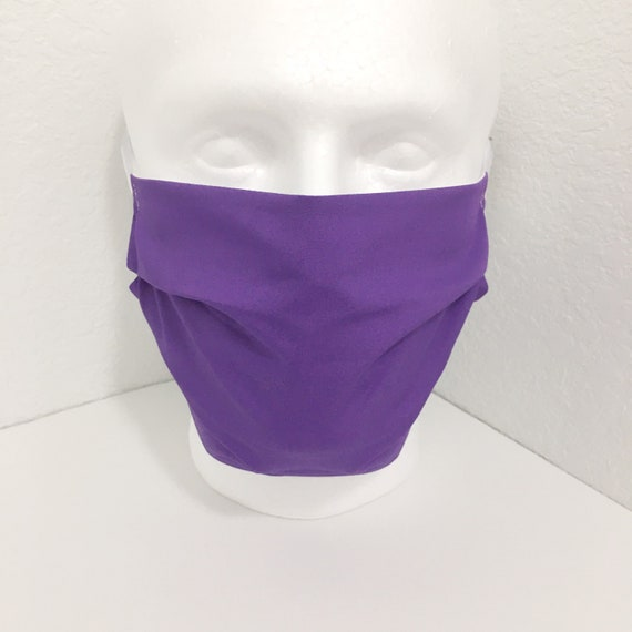 Extra Large Solid Purple Face Mask - XL Adult Adjustable Fabric Face Mask with Pocket for Filter