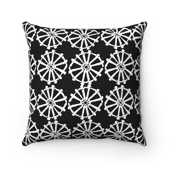 OUTDOOR Throw Pillow . Black and White Outdoor Pillow . Black patio cushion . Modern Geometric Pillow Wheel . 16 18 20 inch . Lumbar Pillow