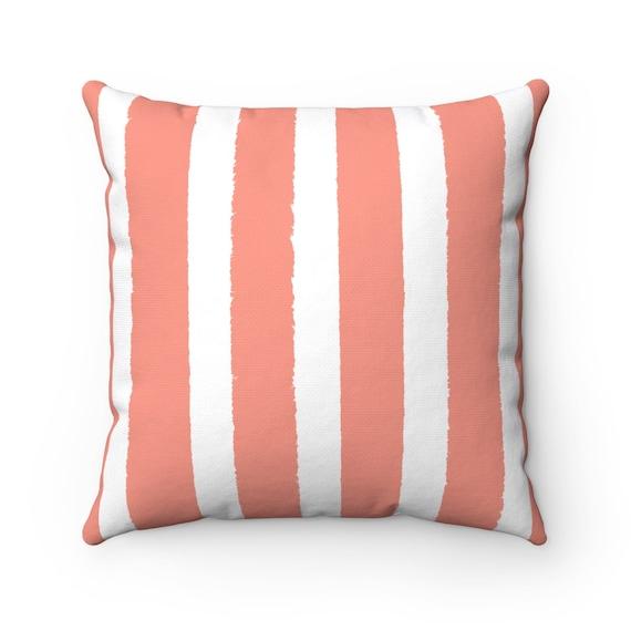 Peach Striped Throw Pillow . Peach Pillow . Peach Lumbar Pillow . Apricot Striped Pillow . Salmon Cushion 14 16 18 20 26 inch . Coral Pillow