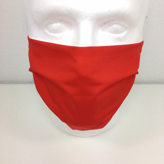 Solid Red Face Mask - Adult Adjustable Fabric Face Mask with Pocket for Filter London Red