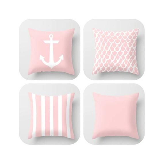 OUTDOOR Throw Pillow . Blush Pink Mermaid Pillow . Coastal Patio Cushion . Anchor Pillow . Stripe Pillow . 16 18 20 inch Rose Lumbar Pillow